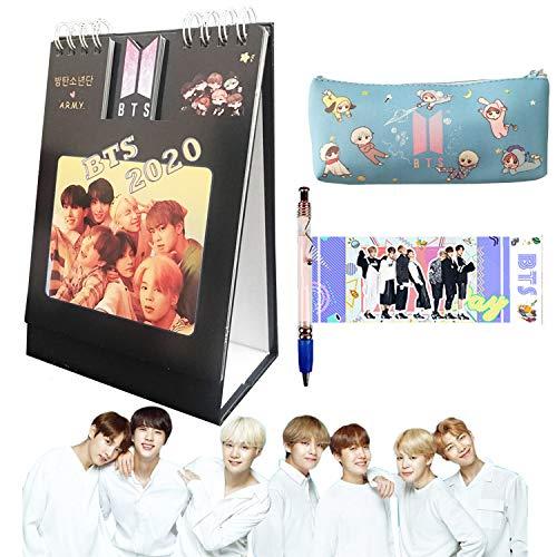 BTS 2020 Calendar BTS 2020 Desk Calendar with 1 BTS Ballpoint Pen and 1 BTS Pencil case (BTS)