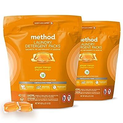 Method Laundry Detergent Packs, Ginger Mango, 24.7 Ounce (Pack of 4)