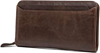 Men's Leather Business Clutch Bag Multi-Card Long Wallet Candys house (Color : Brown)