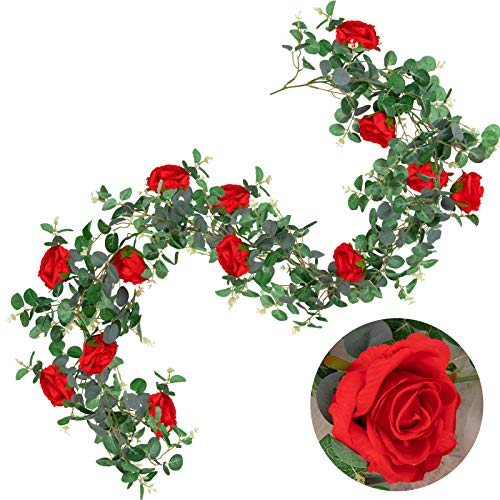 Whaline Artificial Dollar Eucalyptus Garland with Red Roses 5ft Faux Eucalyptus Leaves Vine Hanging Greenery Garland for Wedding Indoor Outdoor Backdrop Wall Decor Home Kitchen Fireplace
