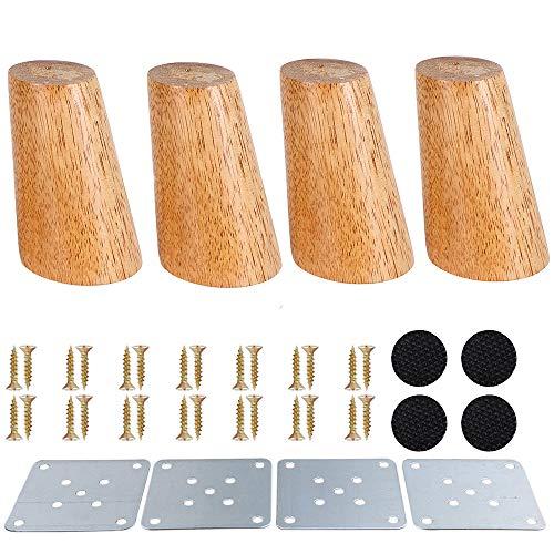 Möbelbeine aus Holz, 8 cm, keilförmig, Ersatzfüße mit Montageplatte & Schrauben & Anti-Rutsch-Matten für Sofa Tisch Stuhl Teeschrank, braun