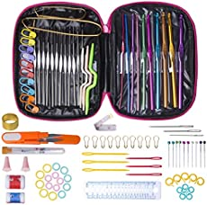 Crochet Hook Needles for Crocheting, 100Pcs Knitting & Crochet Supplies Set with Case, Aluminum Multicolor Yarn Knitting Needles Sewing Tools