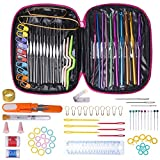 Crochet Hook Needles for Crocheting, 100Pcs Knitting & Crochet Supplies Set with Case, Aluminum Multicolor Yarn Knitting Needles Sewing Tools, Great Christmas Gifts for Mom Women