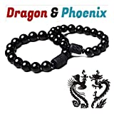 Anti-Swelling Black Obsidian Bracelet - Natural Obsidian Stone Bead Bracelet Couple Men 12mm and Women 10mm Dragon and Phoenix Totem Jewelry