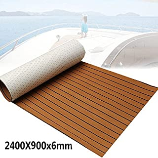Foammaker Non-Slip Boat Flooring Decking Pad, 6mm Thickness EVA Foam Faux Teak Marine Mat