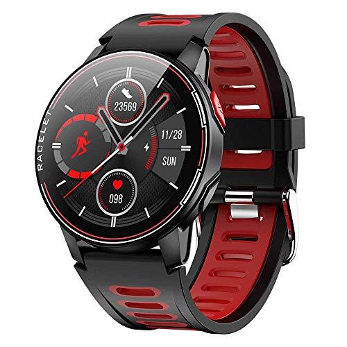 Reloj inteligente, pulsera inteligente silicona pantalla redonda táctil 1.3 pulgadas,contador de pasos de seguimiento actividad deportiva a prueba de agua,compatible reloj inteligente Android IPhone