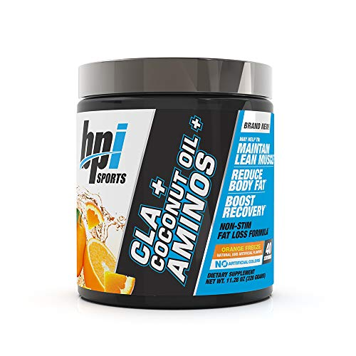 BPI Health CLA + Coconut Oil + Aminos, Non Stimulant Fat Loss Supplement Powder, Boost Weight Loss, Maintain Lean Muscle, Orange Freeze, 40 Servings, 9.8 Ounce (Packaging May Vary)