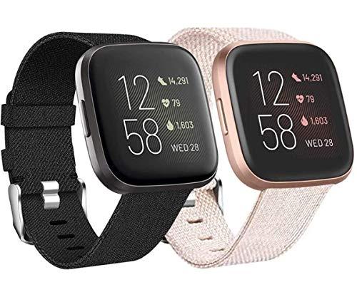 Wepro 2 Pack Armband für Fitbit Versa/Fitbit Versa 2/Fitbit Versa Lite für Frauen Männer, Atmungsaktives Woven Uhrenarmband Verstellbares Ersatzarmband für Fitbit Versa Smartwatch, Schwarz/Aprikose S