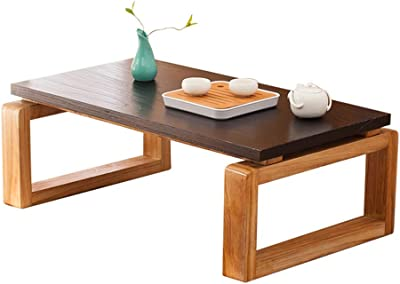 Stylish Retro Solid Wood Coffee Table, Robust Frame, Versatile Bay Window Tables, Simple Writing Desk, Suitable for Living Rooms, Family Rooms