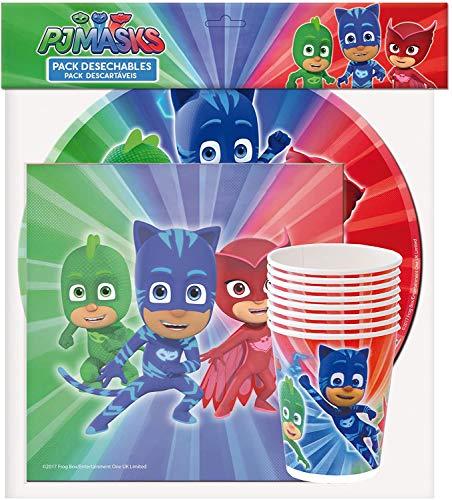 PJ Masks 0761, Pack Fiesta y cumpleaños 20 servilletas, 8 Platos 23 cm, 8 Vasos