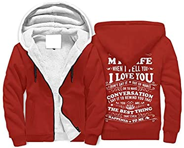 FFanClassic Sudadera de forro polar con capucha para mi esposa de los hombres gruesos Slim-Fit Cordones ropa de abrigo blanco 4xl
