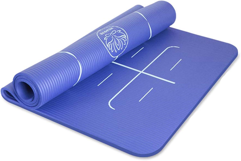 DLJFU - Yogamatte Groe, gepolsterte Yoga-Matte mit Tragegriff für Pilates, rutschfeste, Nicht toxische, hochwertige Fitness-Yoga-Sportmatte (Farbe   Blau, Größe   15mm)