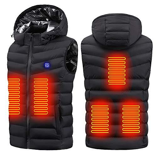 Ewendy Duo-nattern - Chaleco térmico recargable por USB y lavable y ligero para hombres y mujeres - Slim Fit chaqueta climatizada para esquí, camping, senderismo en invierno