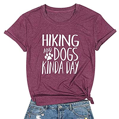 Hiking Dogs T-Shirts for Women Dog Paw Graphic T Shirts Dog Lovers Tops Funny Letter Print Tee Shirt Summer Casual Short Sleeve Tops