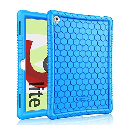 Fintie Funda de Silicona para Huawei MediaPad M5 Lite 10 - [Honey Comb Series] Carcasa Ligera de Silicón Antideslizante y Antichoque Apta para Niños, Azul