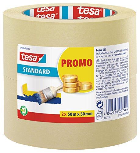 Tesa Nastro per Mascheratura Standard - Nastro in Carta per Mascheratura, Rimozione senza Residui per 2 Giorni, senza Solventi, 2X 50 m x 50 mm
