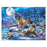 初心者アーティスト - 水彩アクリル塗料油絵クラフトの装飾ギフト - 雪のオオカミのための大人のロールキャンバスキットのための数字による塗料 (色 : Snow wolves, Size : 40x50cm)