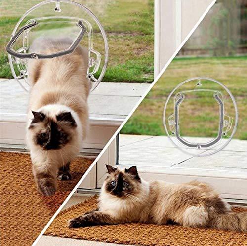 Ttyhch Kleintiere Tür Hund Katze Klapptür 4-Wege-Verschluss Katzentüren Katzenglastür Glasfenster PC-Material Runde Transparent