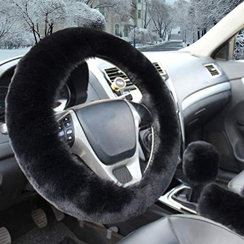 Fluffy Steering Wheel Cover,Fuzzy Steering Wheel Cover with Handbrake Cover Gear Shift Cover Set,Anti-Slip,Winter Warm, Universal 15 Inch 1 Set 3 Pcs Black