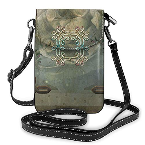 Wonderful Decorative Celtic Knot Phone Purse, Small Crossbody Bag Leather Card Slots Wallet Shoulder Purses Fashion Travel Wallet