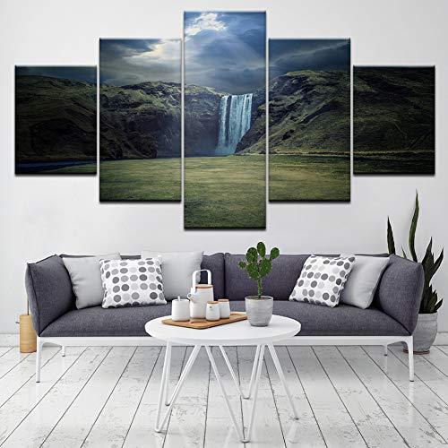 GHTAWXJ Rocky Mountains met lake muurkunst schilderij print op canvas Modern Nature Scenery afbeelding voor decoratie thuis