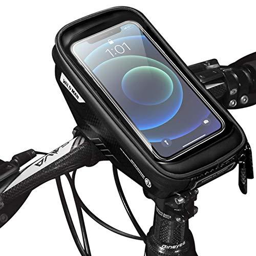 UIHOL Bolsa de Movil Bicicleta Manillar, Soporte Impermeable Accesorios Bicletas Porta Bike Montaña Frame Bag, Táctil de Tubo Superior Delantero, para Teléfono Inteligente por Debajo de 6,5 Pulgadas