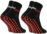 Rainbow Socks - Hombre Mujer Calcetines Antideslizantes de Deporte - 2 Pares - Negro - Talla 42-43