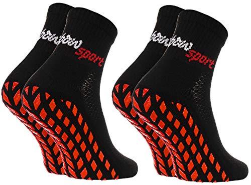Rainbow Socks - Damen Herren Neon Sneaker Sport Stoppersocken - 2 Paar - Schwarz - Größen 44-46
