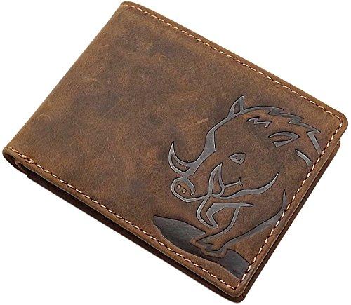 Cuero de búfalo Monedero con jabalí-Motivo en Formato oblongo con Bloqueo RFID y NFC en marrón (Modelo 2 / Formato oblongo)