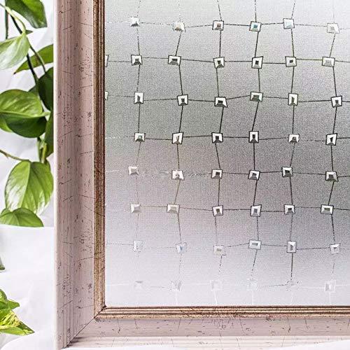 LMKJ La película de privacidad en la Etiqueta de Vidrio, decoración estática de Diamante 3D, Gema de PVC, película de Ventana autoadhesiva Resistente a los Rayos UV A77 60x200cm