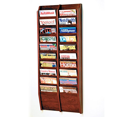 Wooden Mallet 20-Pocket Cascade Magazine Rack, Mahogany