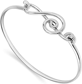 Chuvora 925 Sterling Silver Open G Clef Musical Note Music Lover Openable Hook Bangle Bracelet 8 inches
