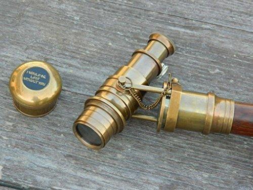 Wandelstok, Brons Antiek Wandelen Stick Vouwen Telescoop houten Nautical Gift door historicalmuseumstore