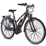 CHRISSON Bicicleta eléctrica para mujer de 28 pulgadas, de trekking y ciudad, color negro mate, cambio de buje Shimano Nexus, Pedelec con motor central Active Line 250 W, 40 Nm