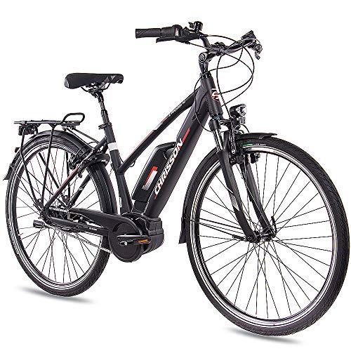 CHRISSON 28 Zoll Damen Trekking- und City-E-Bike - E-Rounder schwarz matt - Elektro Fahrrad Damen - 7 Gang Shimano Nexus Nabenschaltung - Pedelec mit Active Line Mittelmotor 250W, 40Nm