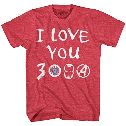 Marvel Iron Man I Love You 3000 Arc Reactor Adult T-Shirt(Heather Red,X-Large)