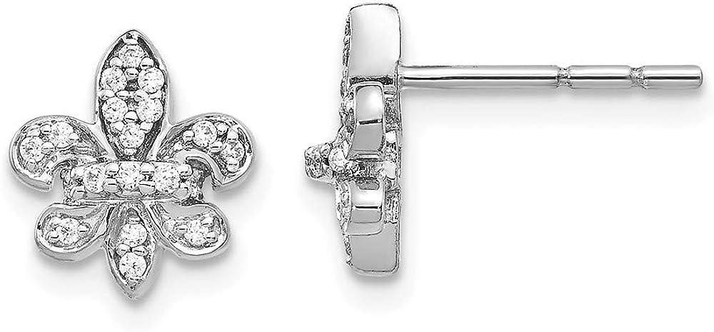 14k White Gold Diamond Fleur De Lis Post Stud Earrings Fine Jewelry For Women Gifts For Her