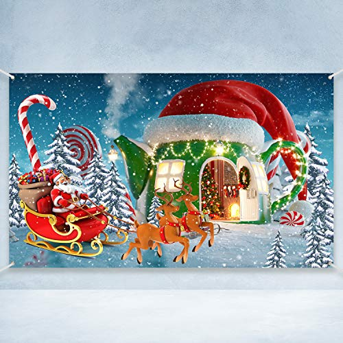 Christmas Party Decoration Supplies, Large Christmas Candy Cup House Photography Backdrop for Xmas Winter Holiday Party Decoration, Snow Pine Tree Winter Worldland Background Banner, 72.8 x 43.3 Inch