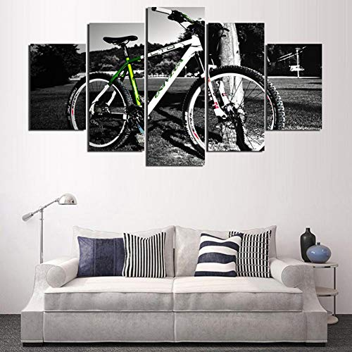 SLFWCLH 5 Canvas Paintings Popular Home Decoration Art Paintings On Canvas Printed Wall Modular 5 Pieces/Pcs Mountain Bike Pictures for Living Room Hd No Frame Modern Fashion Poster Modular Mural