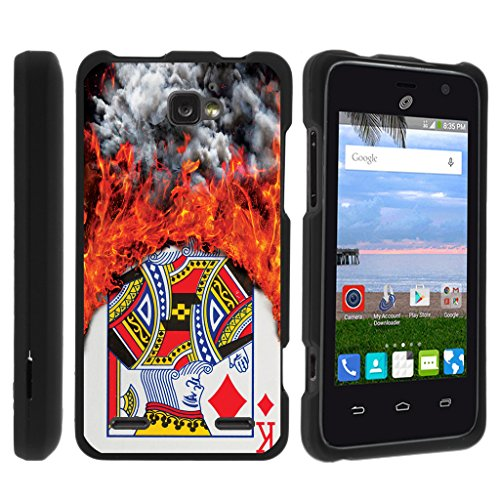 TurtleArmor | Compatible with ZTE Sonata 2 Case | ZTE Zephyr Case | ZTE Paragon Case [Slim Duo] Ultra Compact Hard Snap On Case Slim Cover on Black Gambling Casino - Burning Card