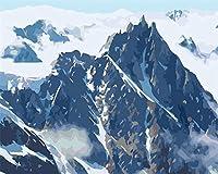 大人のための数字キットによるペイント子供初心者DIY油絵、ブラシとアクリル絵の具アートクラフト、家の壁の装飾雪山の風景-60x80cm-フレームレス