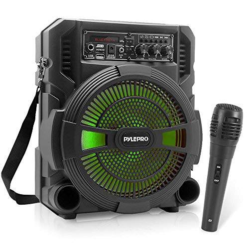 Portable Bluetooth PA Speaker System - 600W Rechargeable Wireless Outdoor Bluetooth Speaker Portable PA System w/Microphone in, Party Lights, USB SD Card Reader, FM Radio - Wired Mic - Pyle PSBT62A