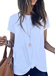 Umeko Womens Short Sleeve Tops Casual Loose Tie Knot Front T Shirt Cotton Round Neck Shirts Tees