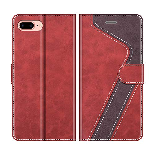 MOBESV Funda para iPhone 8 Plus, Funda Libro iPhone 8 Plus, Funda Móvil iPhone 8 Plus Magnético Carcasa para iPhone 8 Plus/iPhone 7 Plus Funda con Tapa, Rojo