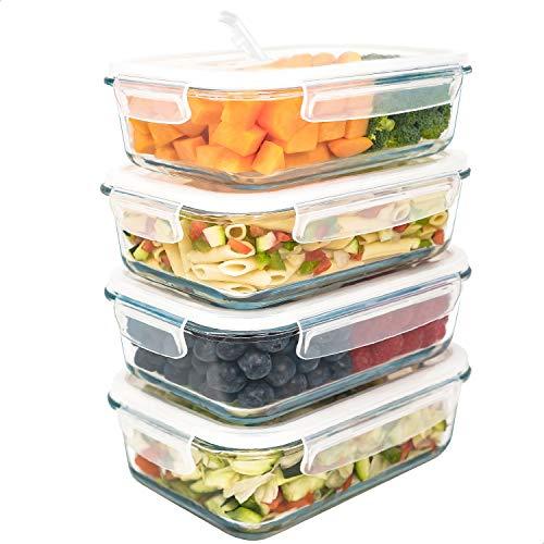 LG Luxury & Grace Set 4 Contenitori in Vetro 1000 ml. Ermetici con Valvola Vapore. Contenitori per Alimenti Sicuri per Microonde, Forno, Lavastoviglie e Congelatore. Senza BPA.
