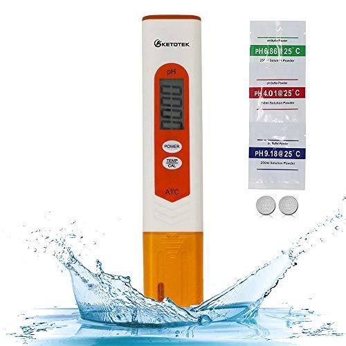 KETOTEK phmetro Misuratore pH Tester Digitale, Temperatura pH Metro Piscina Portatile con Soluzione di Calibrazione, Professionale pH Test Meter per Acqua Acuqrio Birra Alimenti