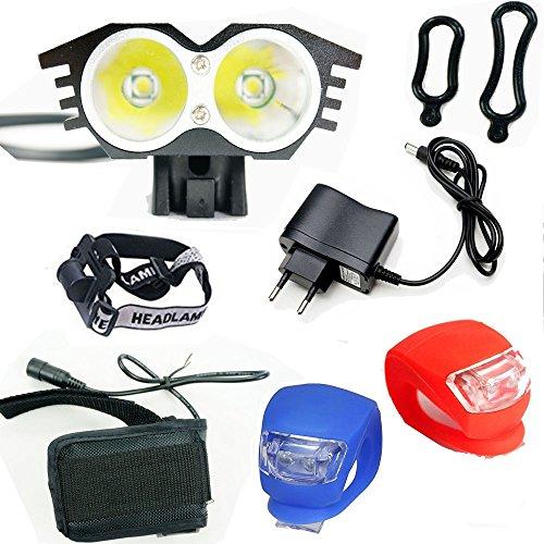 Ya-Fure Linterna LáMPARA para Bicicletas Bici CREE XM-L U2 - Luz LED Frontal para Manillar de Bicicleta (2 focos, 5000 Lumens, 4 Modos) con Llavero Linterna (Negro)
