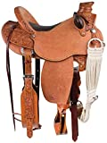 """Star Trading Company Wade Tree Fork Premium Western Leather Roping Ranch Work Horse Saddle TACK Headstall, Breastplate Size 15.5"""" Inches"""