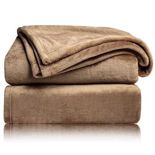 BEDSURE Decke Sofa Kuscheldecke Camel - kleine Fleecedecke für Couch weich & warm, Wohndecke flauschig 130x150 cm als Sofadecke Couchdecke