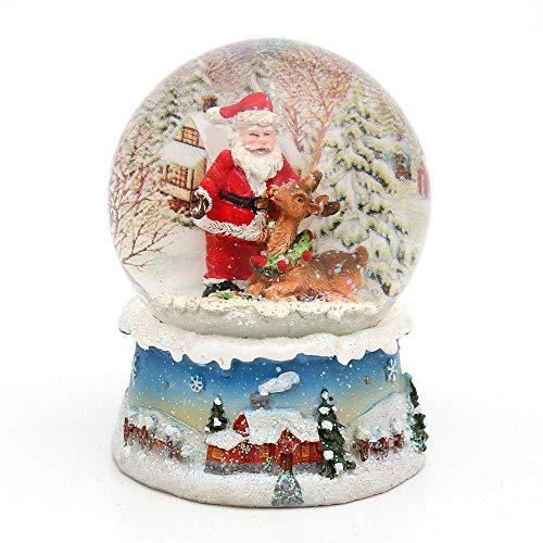Bellisima palla di vetro con neve. Disegno: Babbo Natale con renna, circa 8,5 x 7 cm/ Ø 6,5 cm